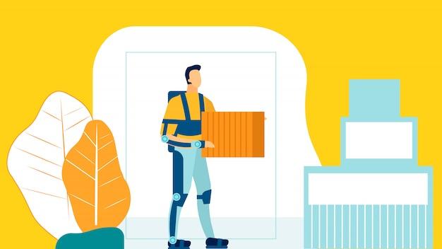 Illustrazione piana del lavoratore futuristico del magazzino