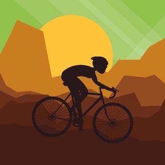 Illustrazione piana del lifesyle della bici