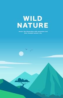 Illustrazione piana del paesaggio di estate con le montagne, il sole, l'albero e il cielo apannato blu.
