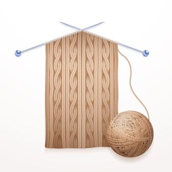 Illustrazione piana del pittogramma di processo di lavoro a maglia della sciarpa