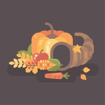 Illustrazione piana del raccolto di autunno cornucopia con frutta e verdura.