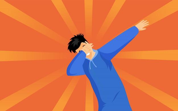 Illustrazione piana del ragazzo dei pantaloni a vita bassa di dabbing. giovane in felpa con cappuccio blu che mostra il personaggio dei cartoni animati alla moda del segno di dab. adolescente alla moda che sta nella posa di ballo del dub isolata sull'arancia