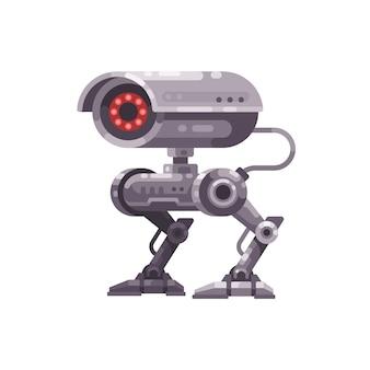 Illustrazione piana del robot della videocamera di sicurezza
