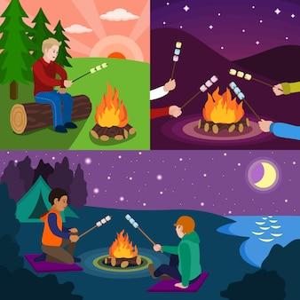Illustrazione piana del set marshmallow