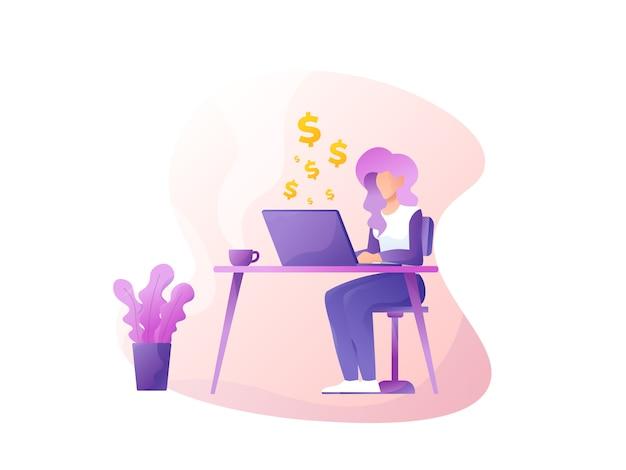 Illustrazione piana del sito web dei guadagni del dollaro freelance