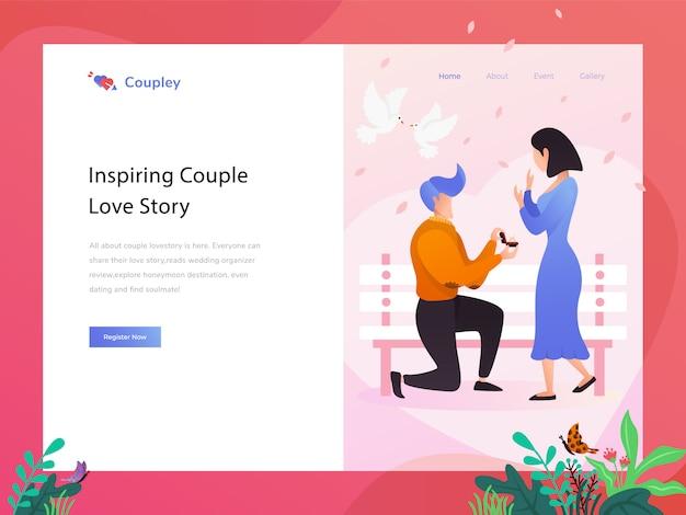 Illustrazione piana del sito web del negozio di amore