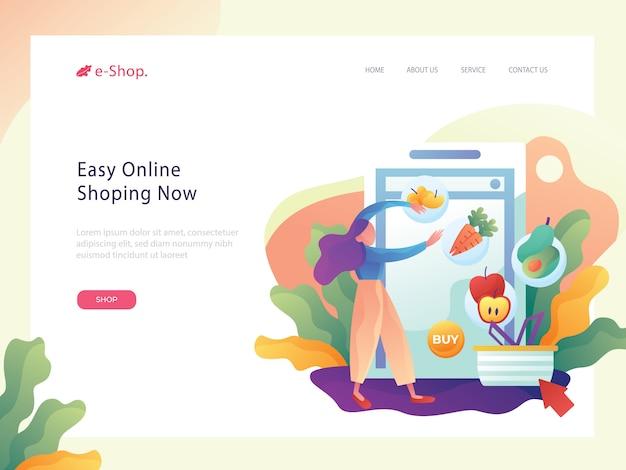 Illustrazione piana del sito web del negozio online di drogheria