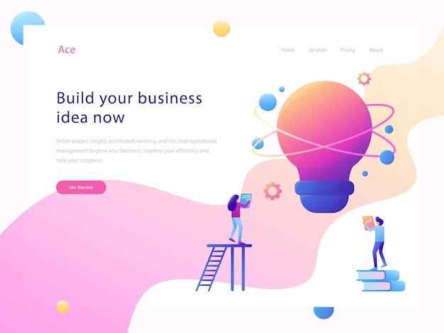 Illustrazione piana del sito web di idea di affari