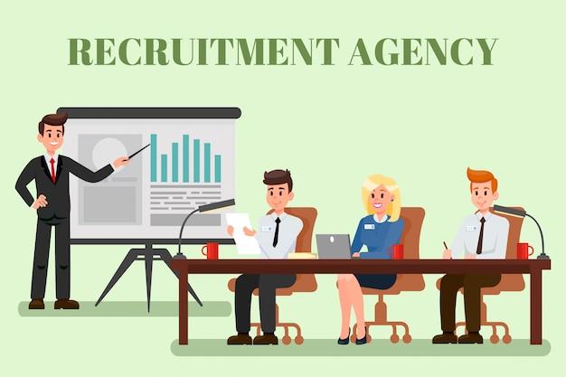 Illustrazione piana dell'agenzia di reclutamento con testo