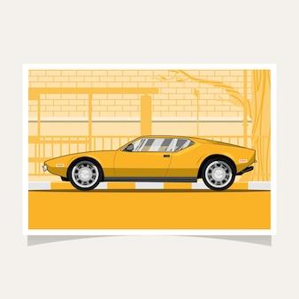 Illustrazione piana dell'automobile sportiva gialla classica