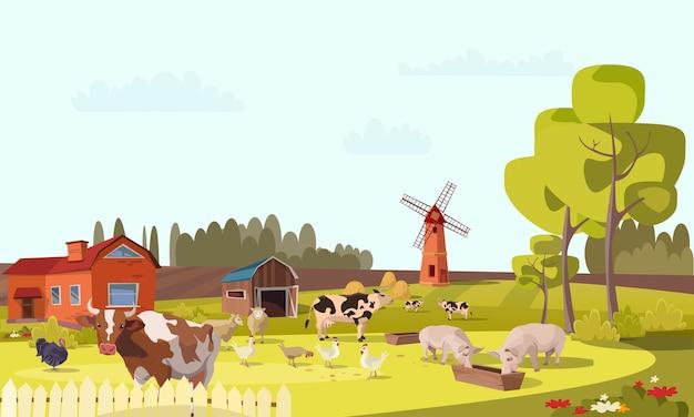 Illustrazione piana dell'azienda agricola, paesaggio agricolo estivo con mulino, bovini, pollame, mucche, maiali, pollo, tacchini pascolano. scenario rurale con fienile, alberi, fiori, agricoltura, lavori agricoli