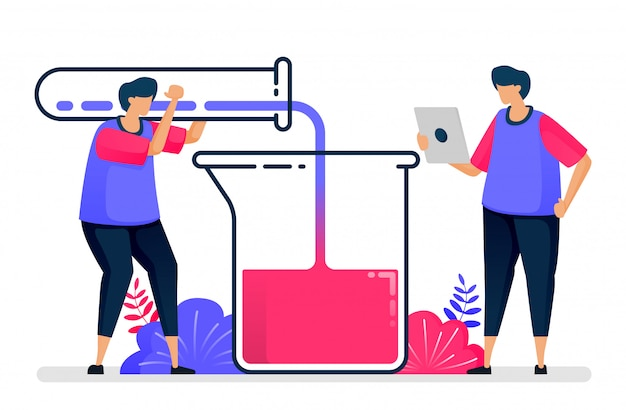 Illustrazione piana dell'esperimento con provette e bicchieri. apprendimento e studio della chimica. progettare per l'assistenza sanitaria.
