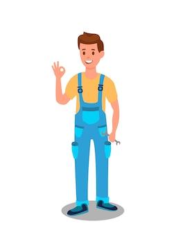 Illustrazione piana dell'impiegato di servizio di manutenzione dell'automobile
