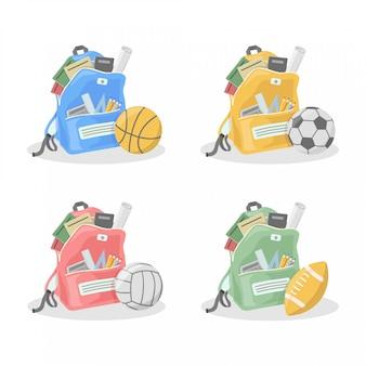 Illustrazione piana dell'insieme della raccolta della palla di sport e dello zaino