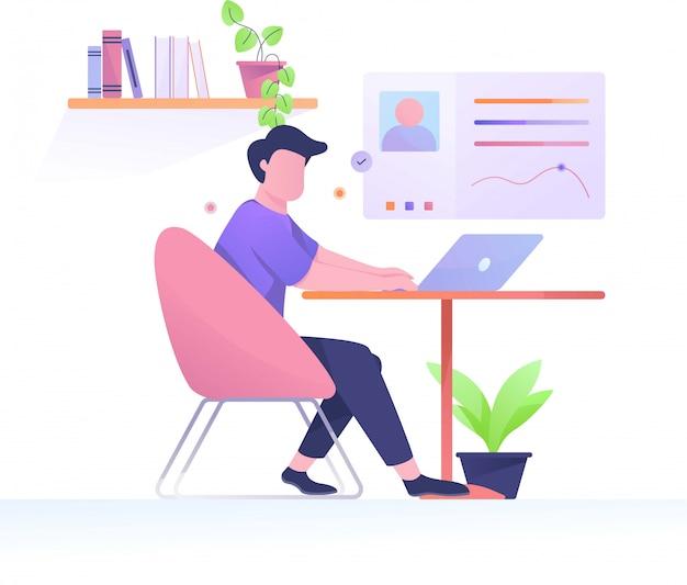 Illustrazione piana dell'uomo di tempo di lavoro nel posto di lavoro