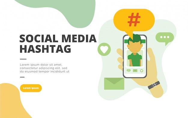 Illustrazione piana della bandiera di progettazione di hashtag di media del sociale