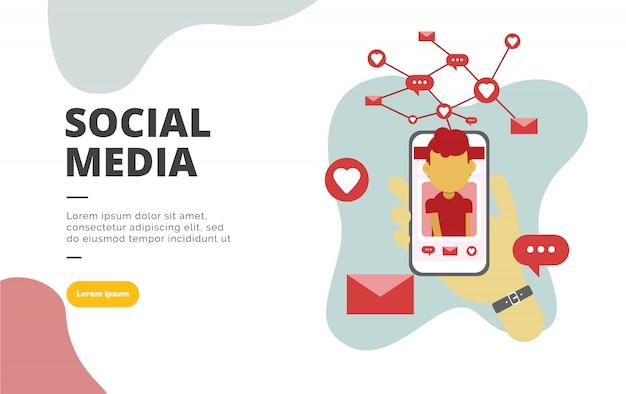 Illustrazione piana della bandiera di progettazione di media sociali