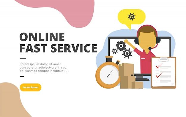 Illustrazione piana della bandiera di progettazione di servizio veloce online