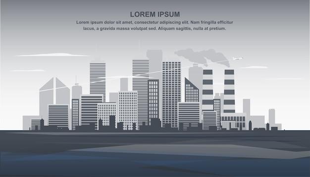 Illustrazione piana della bandiera paesaggio urbano grigio di panorama