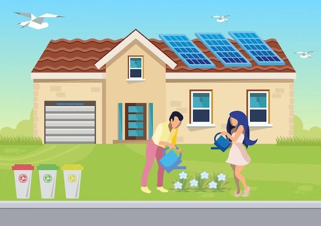 Illustrazione piana della famiglia rispettosa dell'ambiente
