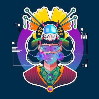 Illustrazione piana della geisha futura moderna