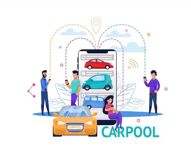 Illustrazione piana della gente di ricerca mobile di app di carpool