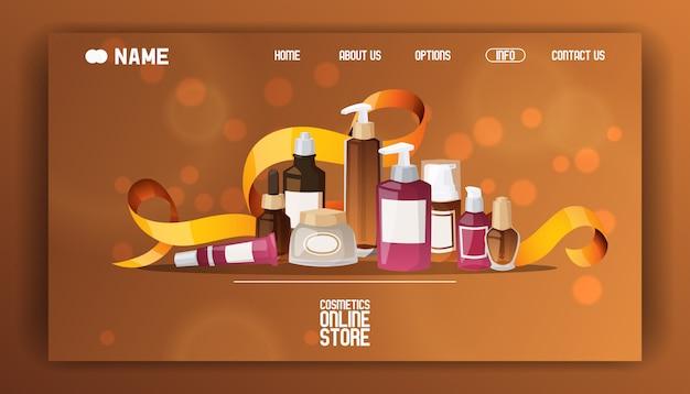 Illustrazione piana della pagina di atterraggio del deposito cosmetico di bellezza.