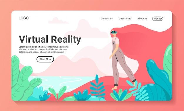 Illustrazione piana della pagina di atterraggio di vetro aumentata ragazza di concetto di realtà virtuale di vr