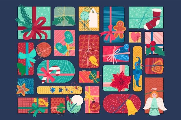 Illustrazione piana delle caselle del presente di nuovo anno luminoso. set di adesivi di regali e dolcetti di natale