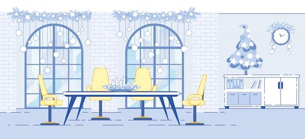 Illustrazione piana delle decorazioni interne di natale dell'ufficio