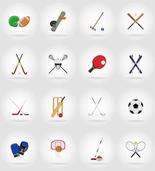 Illustrazione piana delle icone dell'attrezzatura di sport