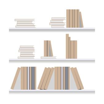 Illustrazione piana dello scaffale per libri. letteratura della libreria