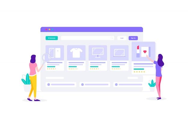 Illustrazione piana di acquisto online della donna di commercio elettronico
