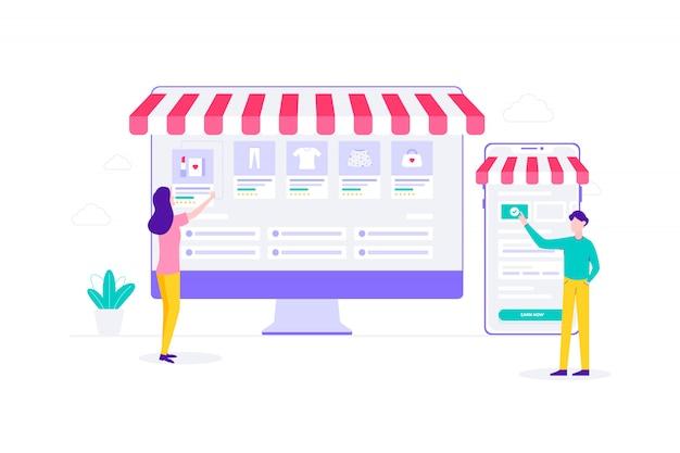 Illustrazione piana di acquisto online della gestione di commercio elettronico