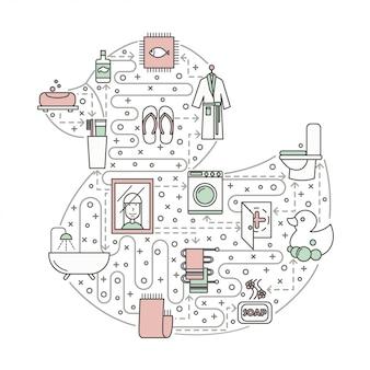 Illustrazione piana di arte di linea piana di concetto del bagno