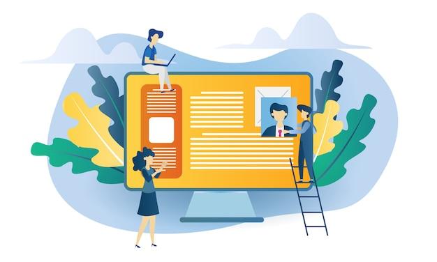 Illustrazione piana di assunzione di concetto di affari