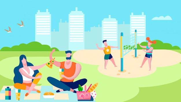 Illustrazione piana di attività all'aperto del parco di estate
