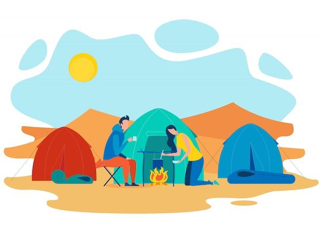 Illustrazione piana di campeggio di vettore di estate delle coppie