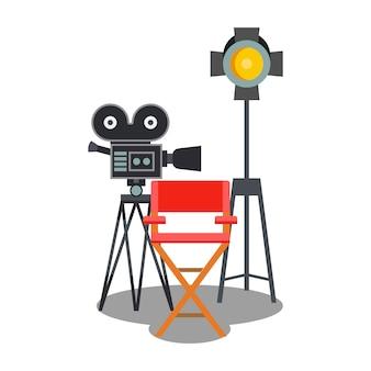 Illustrazione piana di colore dell'attrezzatura dello studio di film