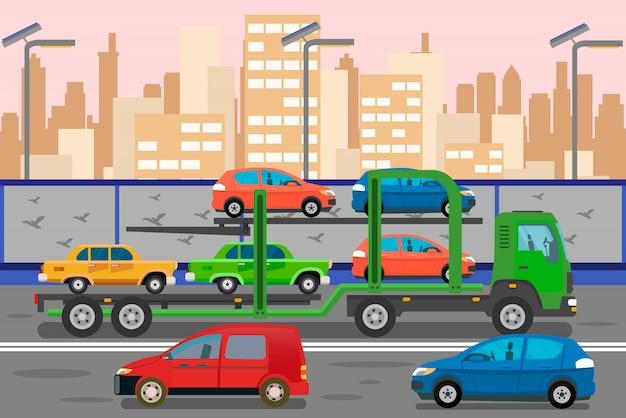 Illustrazione piana di colore di servizio di trasporto dell'automobile