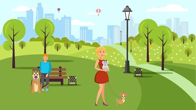 Illustrazione piana di colore di vettore della passeggiata degli amanti del cane