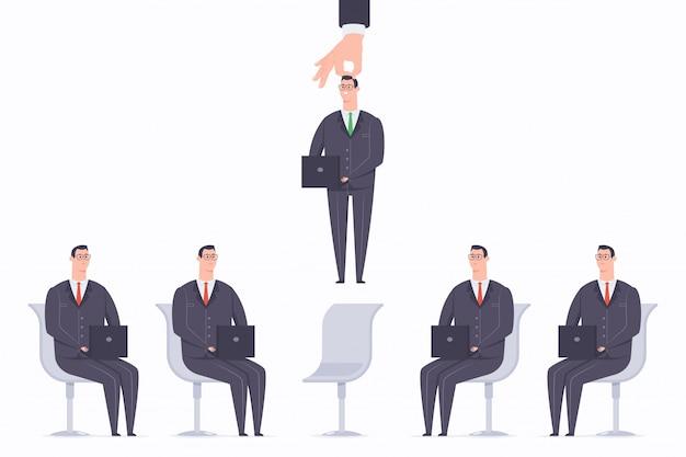 Illustrazione piana di concetto del fumetto di vettore di processo di reclutamento con personale selezionato