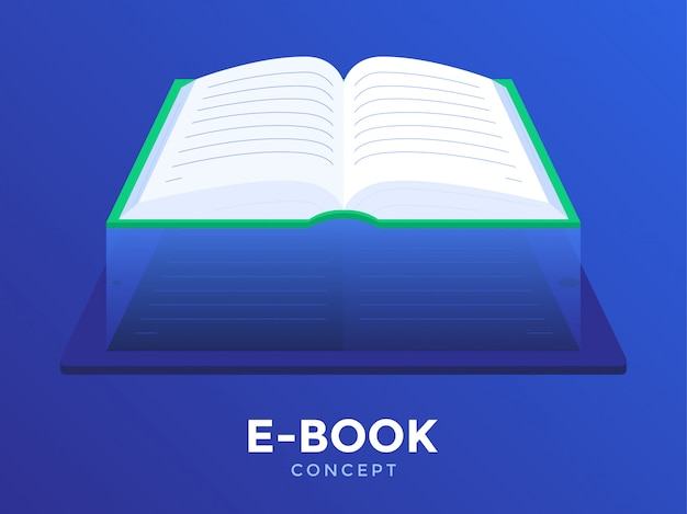 Illustrazione piana di concetto del libro elettronico