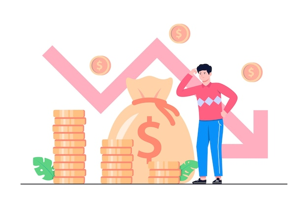 Illustrazione piana di concetto di affari in bancarotta