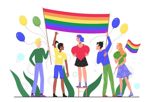 Illustrazione piana di concetto di parata di orgoglio di lgbt. cartoon felice giovane gruppo di personaggi di attivisti gay, lesbiche e transgender con bandiera arcobaleno che partecipano alla celebrazione del festival del mese dell'orgoglio lgbtq