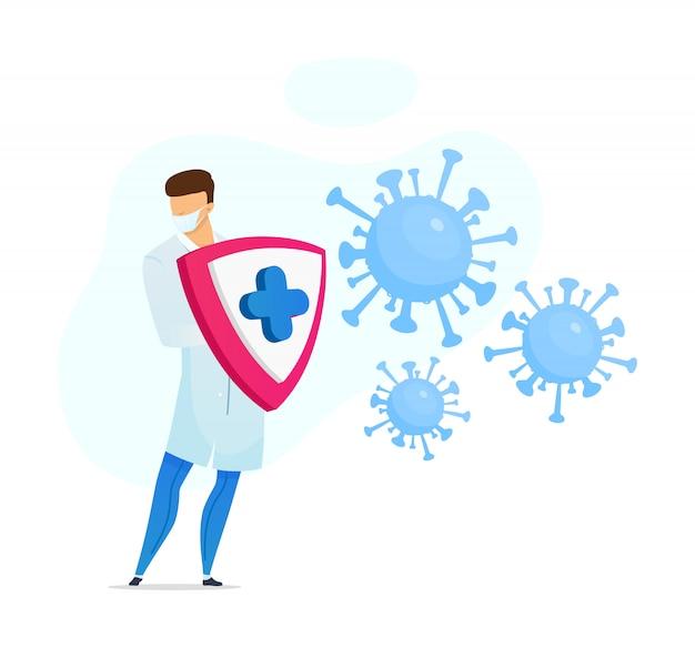 Illustrazione piana di concetto di protezione di coronavirus