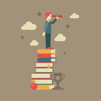 Illustrazione piana di concetto di visione futura di conoscenza di istruzione. l'uomo che guarda attraverso il cannocchiale sta sul mucchio del libro vicino al vincitore della tazza delle nuvole di mele