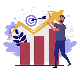 Illustrazione piana di crescita aziendale. progettazione del colore del processo di gestione delle vendite e delle prospettive commerciali. persona con grafico e freccia va su metafora colorata, isolata su sfondo bianco.