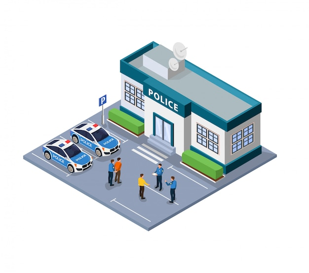 Illustrazione piana di custodia della polizia e filo isometrico.