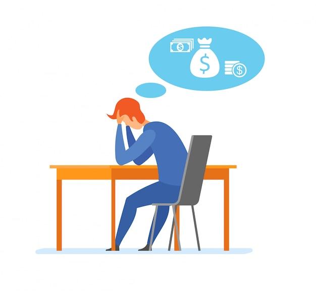 Illustrazione piana di difficoltà finanziaria di problema dei soldi